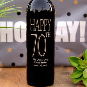 Traditional Birthday Etched Wine