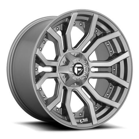 Fuel - 713 - Brushed Gun Metal Tinted Clear - 20X9.     1mm offset  -  6X135 bolt pattern   -   D71320909850