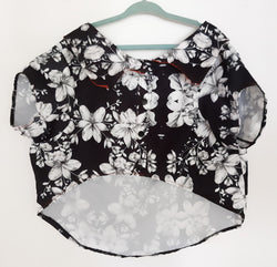 Hawaiian Style Shirt with White Flowers for Pets