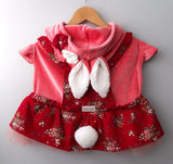 Easter Bunny Female Costume, Velvet Overalls with Skirt, Coral Color for Pets