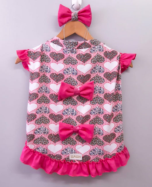 Cotton Sleepshirt with Heart Prints. Choose your size.