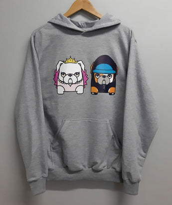 Custom Mascot Hoodie Light Gray Color Uauhdogs for Humans