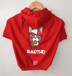 Custom Hoodie Red Color with French Bulldog Mascot