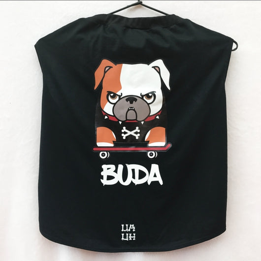 Custom Bulldogs Mascots Skater Black Color Shirt. Choose your size.