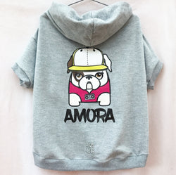 Custom Bulldogs Mascots Grafitti Girl Light Gray 100% Cotton (French Terry) Hoodie. Choose your size.