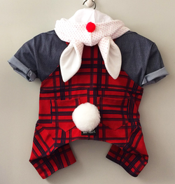 Easter Bunny Costume with Plaid Overalls  for Pets
