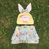 Easter Bunny Female Costume, Flowers Overalls with Skirt for Pets