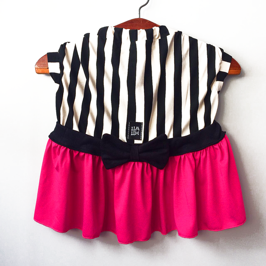 Vertical Striped Dress with Hot Pink Skirt for Pets
