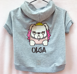Custom Bulldogs Mascots Princess Light Gray 100% Cotton (French Terry) Hoodie. Choose your size.