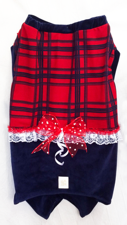 Christmas Plaid Red/Navy Blue Female Pajamas for Pets