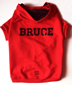 Custom Red Color 100% Cotton (French Terry) Hoodie  UAUH DOGS
