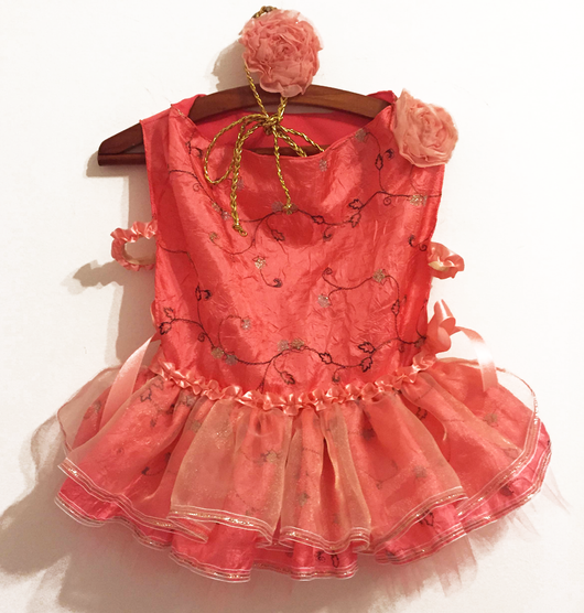 Dress Party Coral Color (Satin and Organza). Choose your size.