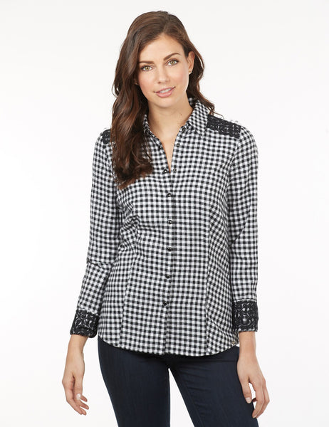French Dressing Jeans Gingham and Lace Blouse