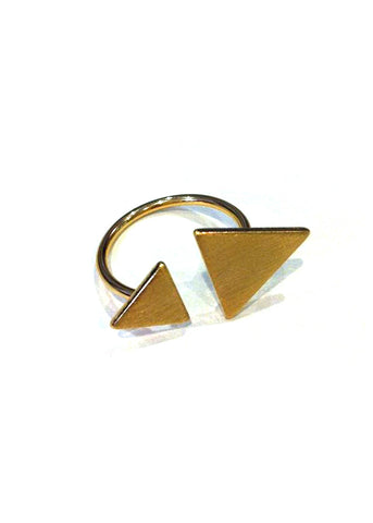 7Bis - Bague Double Triangle Or