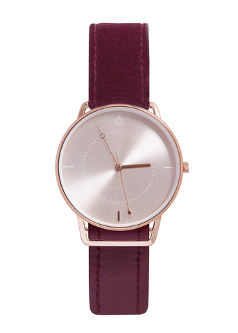 Shammane - Montre Lava Bordeaux Or Rose / Or Rose