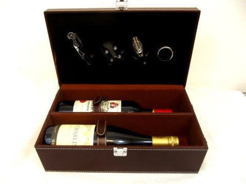 Stylish 5 piece Wine Case Gift Box Carrier Holder - 2 bottle Travel Bar Brown - Woodlands Enterprises Ltd