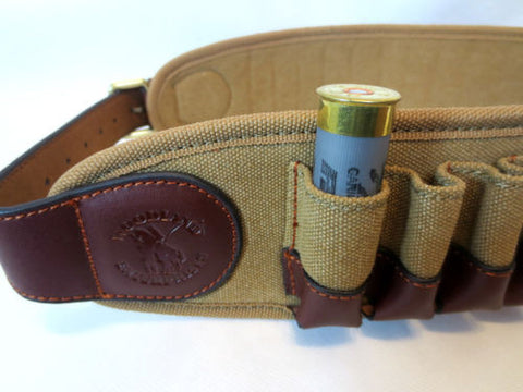 LEATHER & CANVAS CARTRIDGE BELT 25 CARTS - Woodlands Enterprises Ltd