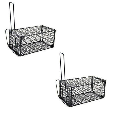 2 x Extra Large Rat / Mouse Live Catch Spring Cage Trap - Woodlands Enterprises Ltd