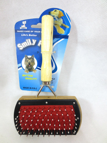 GROOMING BRUSH SUITABLE FOR PETS BRISTLES ONE SIDE, WIRE THE OTHER PETS CORNER