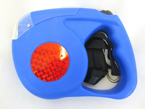 New Retractable Expendable Flash Light Auto Tape Cord Dog Lead Blue