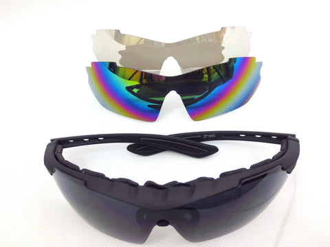 PRO SPORT G&D SAFETY GLASSES, 3 LENSES AND CLAM CASE CYCLING SUNGLASSES 100%UV
