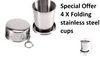 Collapsible Travel Stainless Steel Mug Coffee Outdoor Sports Folding Cup 86.5mm