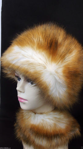Faux Fur Hat (Brown/White)
