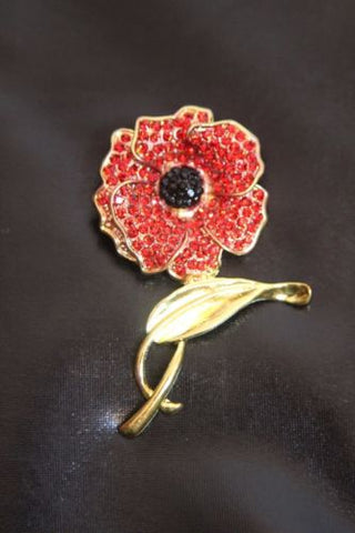 LARGE RED CRYSTAL POPPY PIN BROOCH