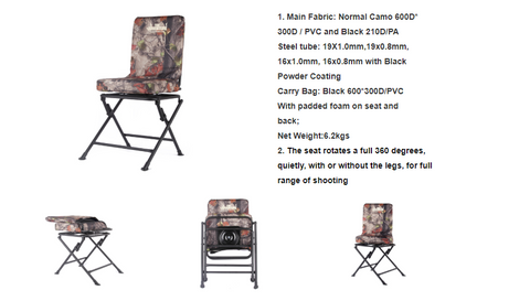 Sturdy Camo 360 Swivel Seat Shooting Folding Down seat