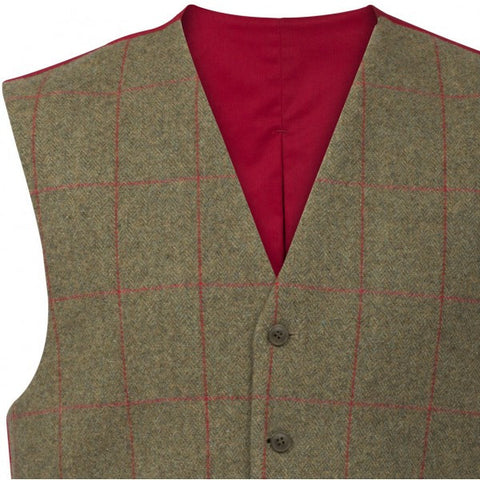 ALAN PAINE COMPTON MENS TWEED LINED BACK WAISTCOAT - CLASSIC FIT