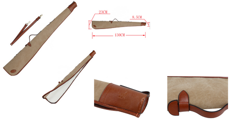 Padded Gun Slip Shotgun Case Canvas and Leather sand stone