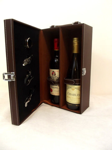 Stylish 5 piece Wine Case Gift Box Carrier Holder - 2 bottle Travel Bar Brown