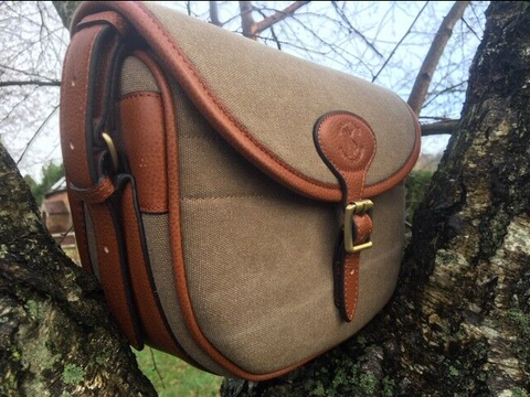 Bespoke Leather and Canvas Cartridge Bag Sandstone