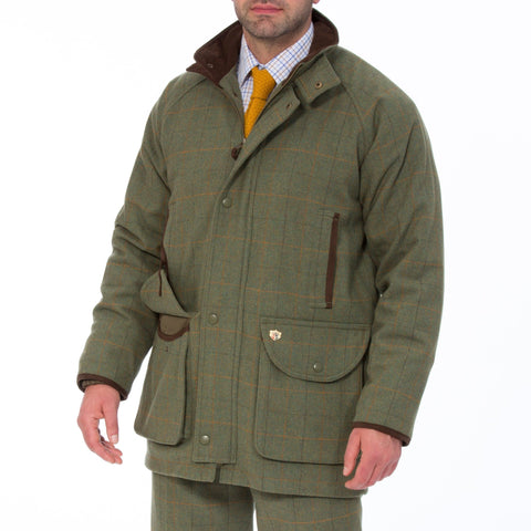 ALAN PAINE COMPTON MENS WATERPROOF SHOOTING TWEED COAT - SHOOTING FIT LOVAT