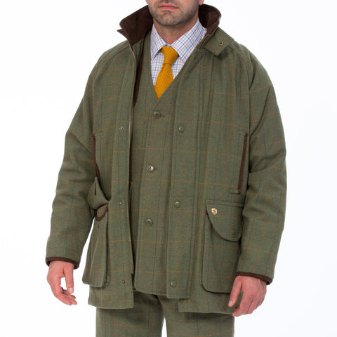 ALAN PAINE COMPTON MENS WATERPROOF SHOOTING TWEED COAT - SHOOTING FIT LOVAT - Woodlands Enterprises Ltd