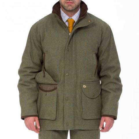 ALAN PAINE COMPTON MENS TWEED SHOOTING FIELD COAT - CLASSIC FIT LAGOON