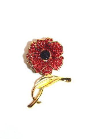LARGE RED CRYSTAL POPPY PIN BROOCH - Woodlands Enterprises Ltd