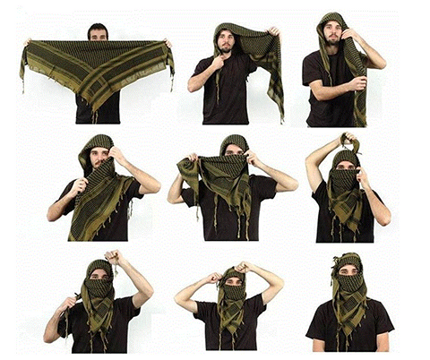 Camo Cotton SHEMAGH HEAD SCARF Military Keffiyeh Arab Army Woven SAS Veil Wrap