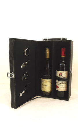 Stylish 5 piece Wine Case Gift Box Carrier Holder - 2 bottle Travel Bar Black - Woodlands Enterprises Ltd