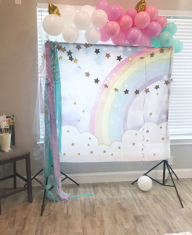 party photo booth cloud and stars backdrop
