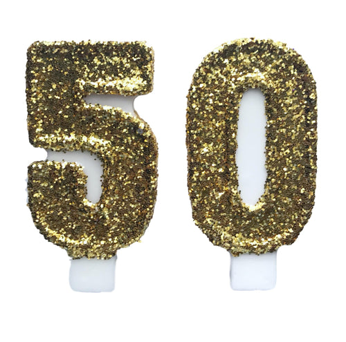 Gold Glitter Birthday Candles- 50th
