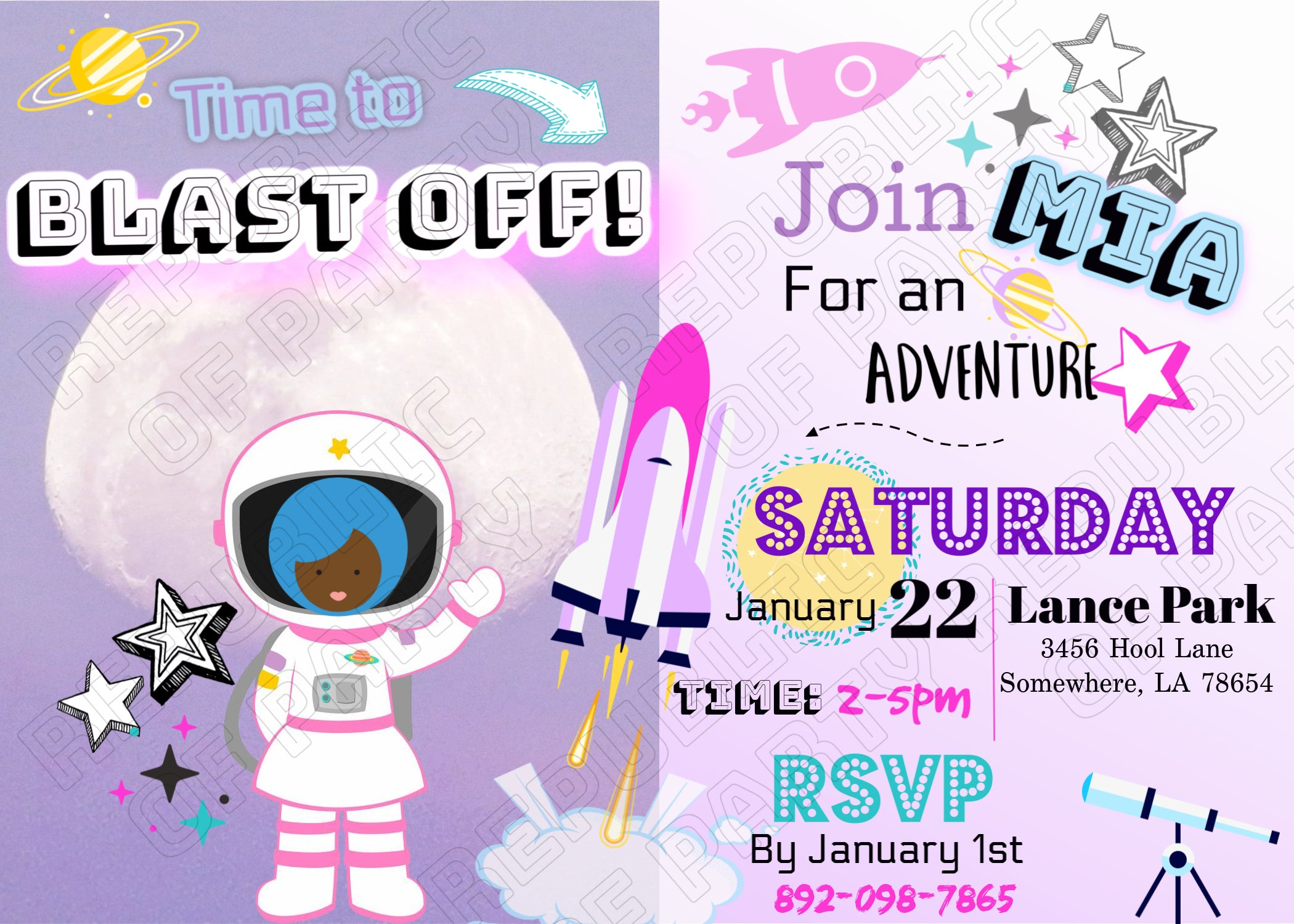 Space Girl Birthday Party Invitation| Digital File| Personalized Invitation| Printable Invitations