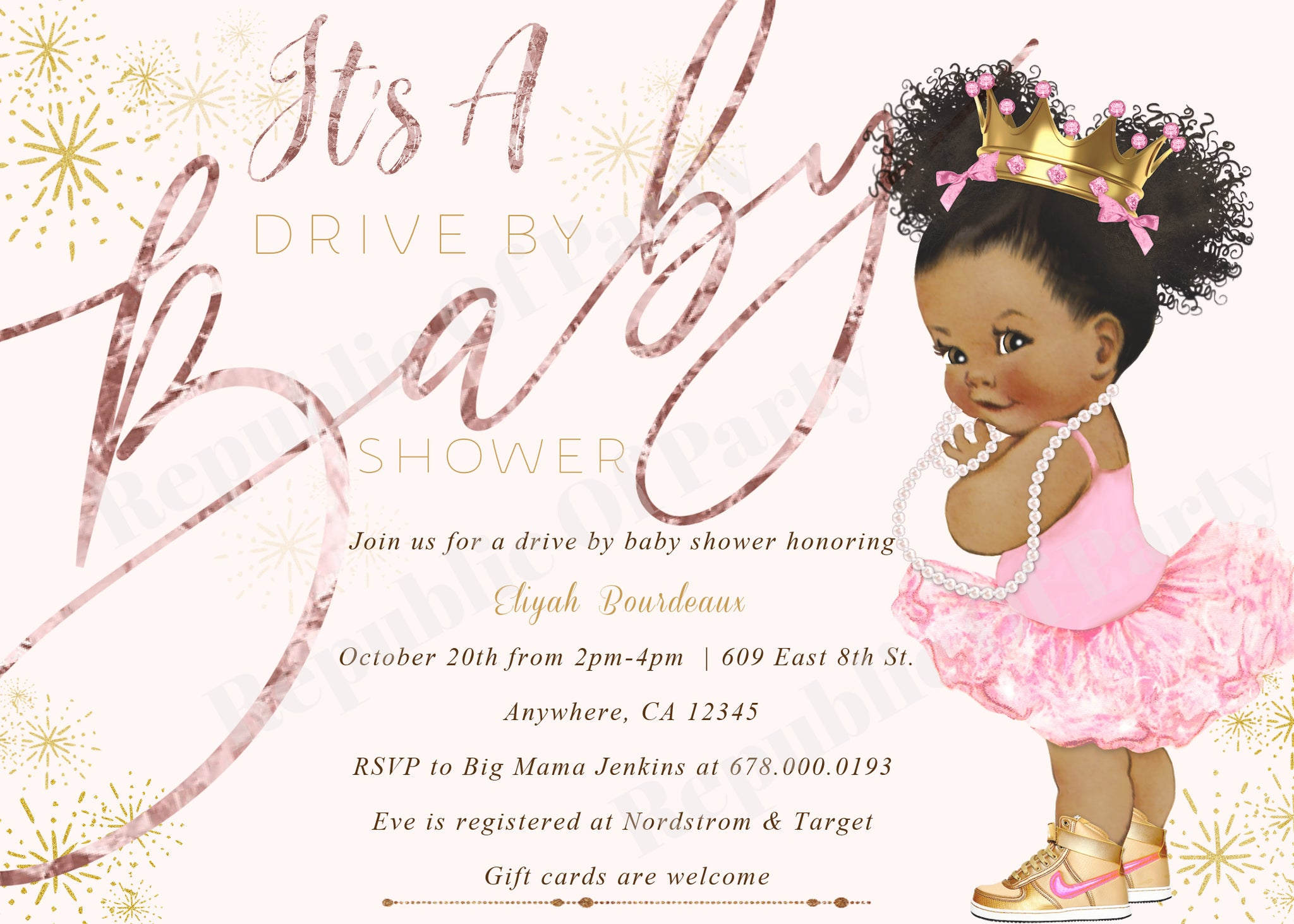 African american drive by baby shower printable invitation