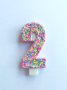 Ice cream birthday candle, sprinkle birthday candle, 2nd birthday candle