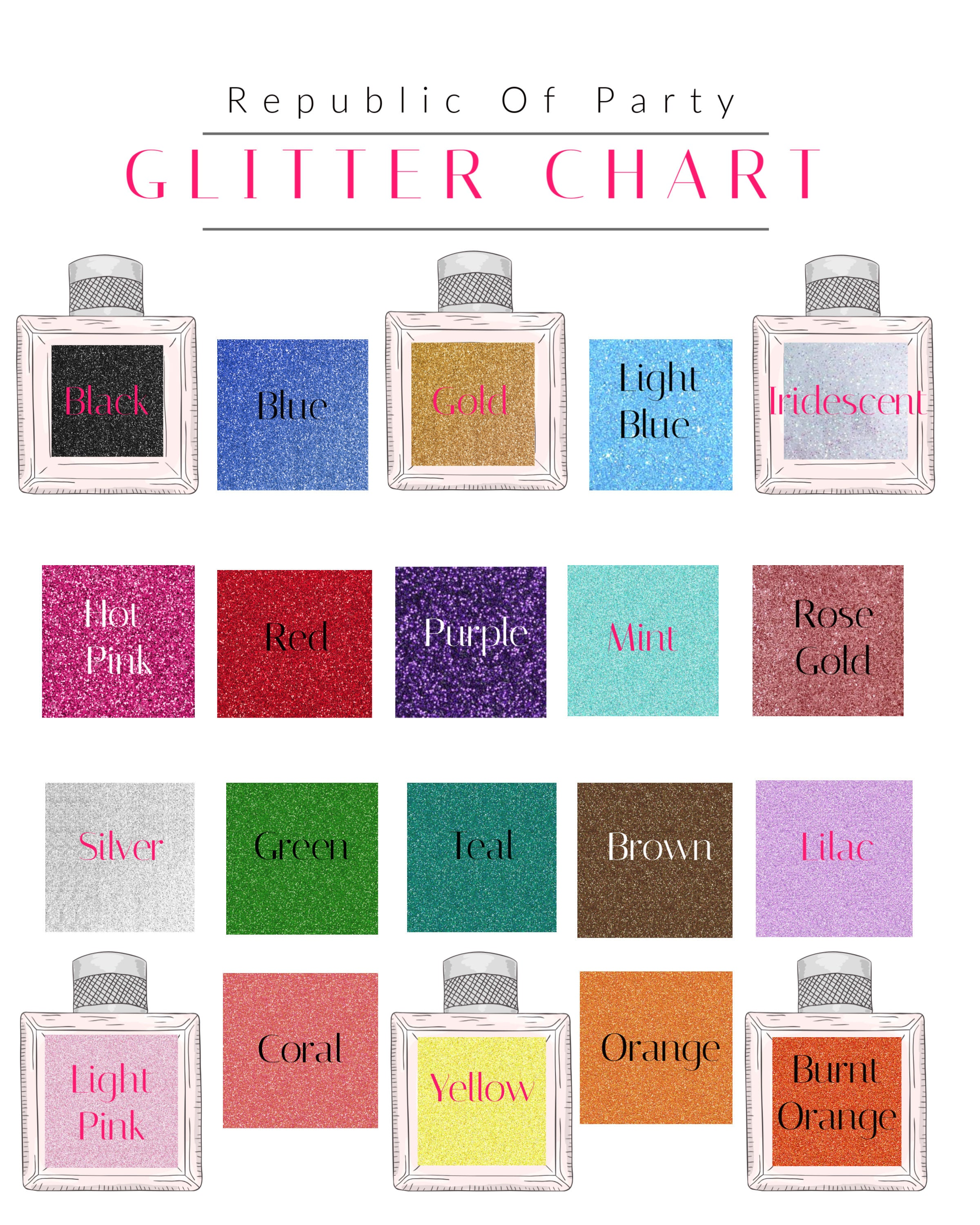 glitter color chart for republic of party