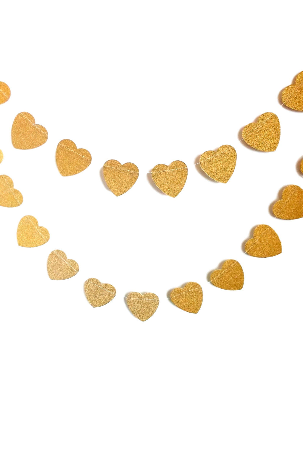 Gold glitter hearts garland