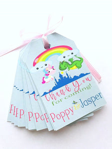 Personalized Thank You Tags-Unicorn & Dragon