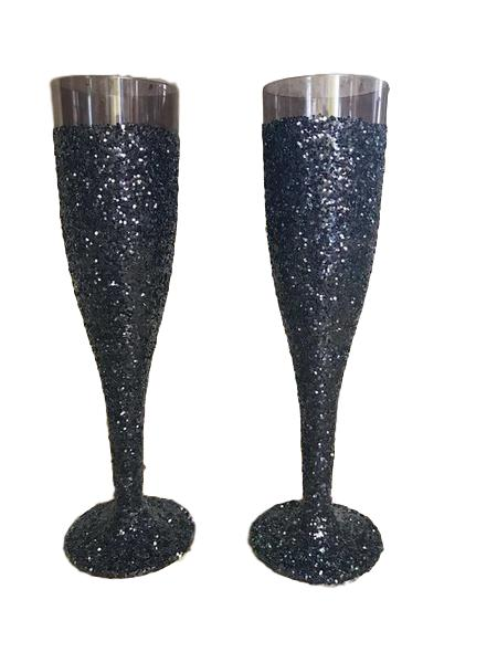 Black on Black Glitter Champagne Flutes