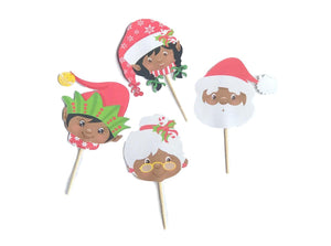 Black Christmas Cupcake Toppers, Black santa, Black Mrs. Clause, Black Elves, Diverse Christmas, African Christmas toppers