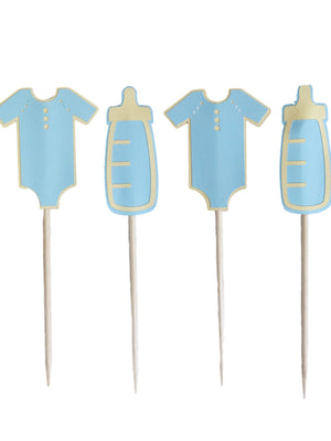 Blue baby bottle and onsie toppers